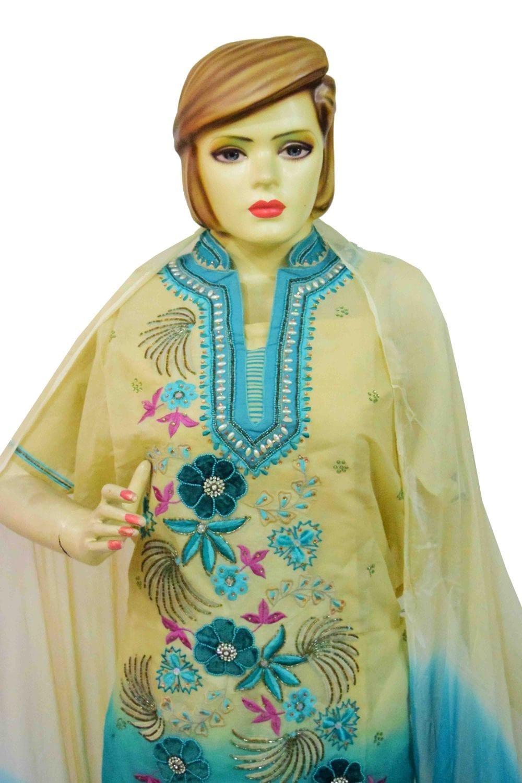 Organdi Embroidered Cotton Punjabi Suit with Chiffon Dupatta M0335 3