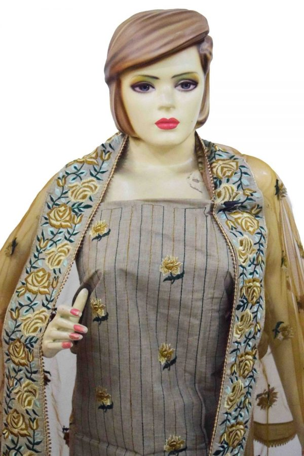 Embroidered Cotton Punjabi Suit with Net Stole M0338