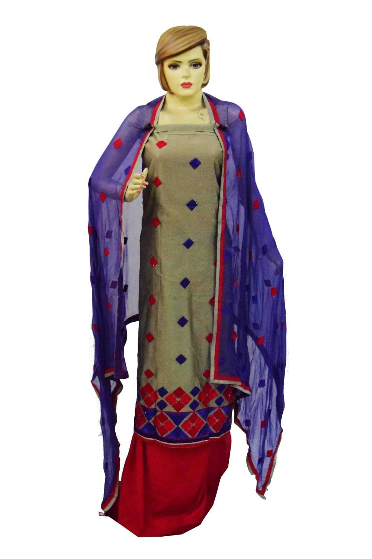 3D Embroidered Chanderi Cotton Punjabi Suit with Chiffon Dupatta M0340 1