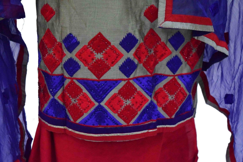 3D Embroidered Chanderi Cotton Punjabi Suit with Chiffon Dupatta M0340 2