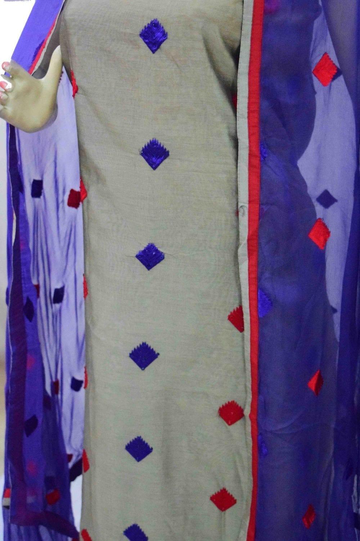 3D Embroidered Chanderi Cotton Punjabi Suit with Chiffon Dupatta M0340 3