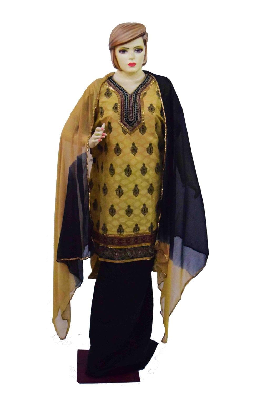 Golden Black Cotton Punjabi Suit with faux chiffon dupatta M0342 1