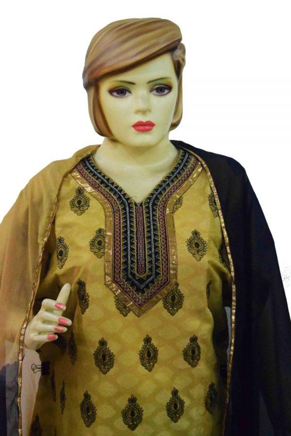 Golden Black Cotton Punjabi Suit with faux chiffon dupatta M0342