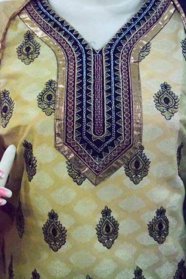 Golden Black Cotton Punjabi Suit with faux chiffon dupatta M0342 3