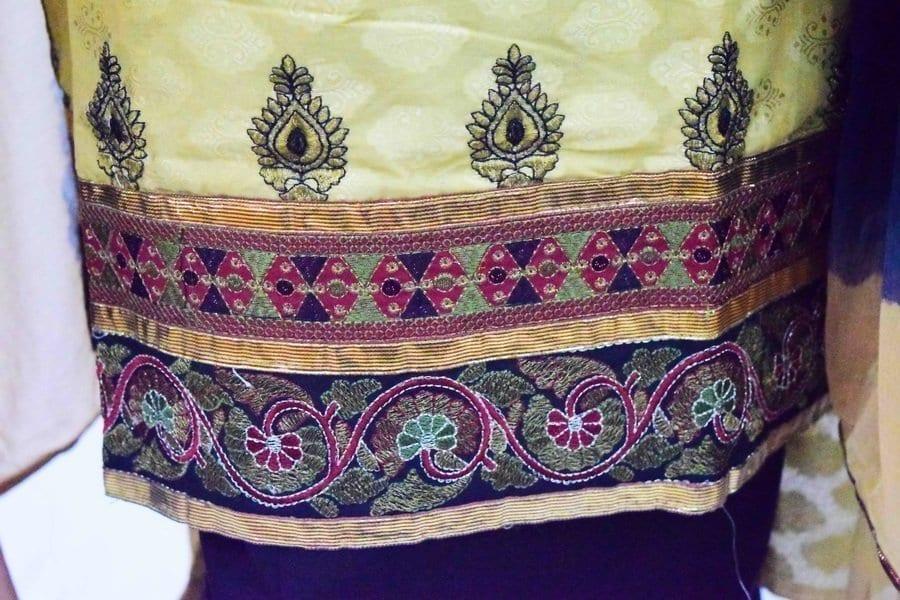 Golden Black Cotton Punjabi Suit with faux chiffon dupatta M0342 4