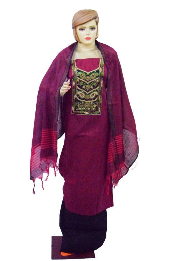 Maroon Black Cotton Punjabi Suit with Cotton Stole M0343