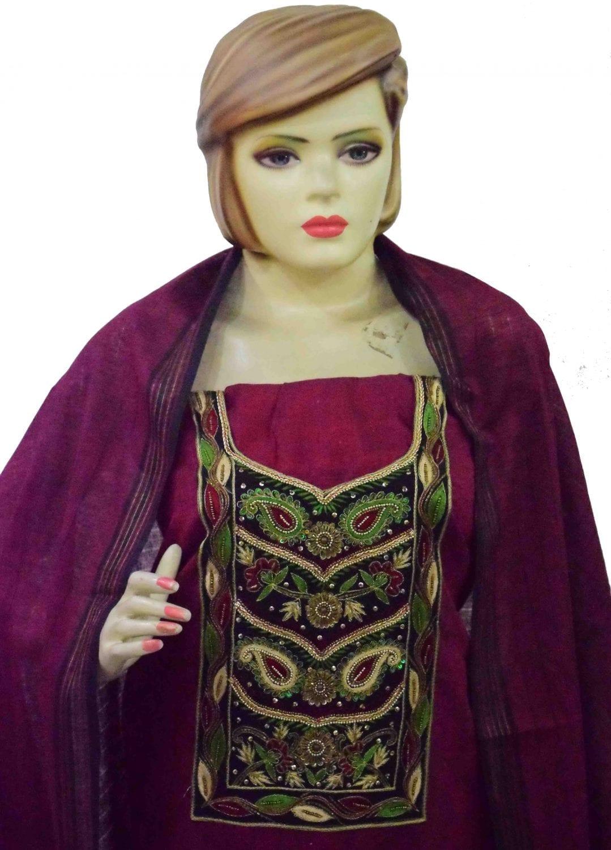 Maroon Black Cotton Punjabi Suit with Cotton Stole M0343 2