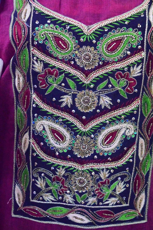 Maroon Black Cotton Punjabi Suit with Cotton Stole M0343 3