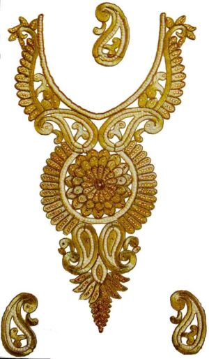 Antique Golden Zari Neck Patch with Swaroski Work for Kurti , kameez, Jumper  MT0015