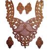 Antique Golden Zari Neck Patch with Swaroski & Moti Work for Kurti MT0016