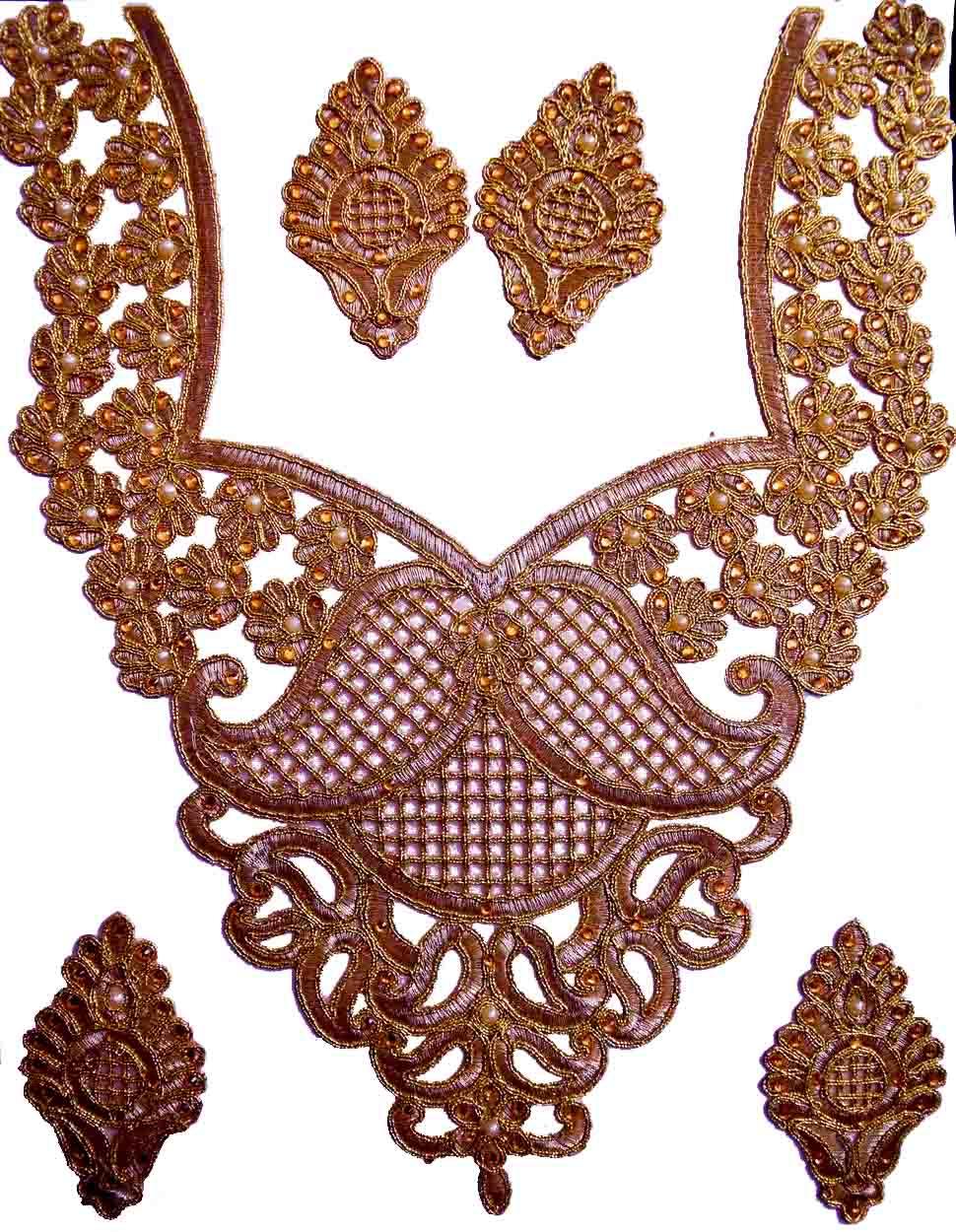 Antique Golden Zari Neck Patch with Swaroski & Moti Work for Kurti MT0016 1