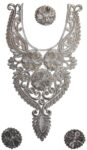 Antique Silver Zari Neck Patch with Swaroski Work for Kurti , kameez, Jumper  MT0018