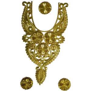 Golden Zari Neck Patch with Swaroski & Moti Work for Kurti MT0020
