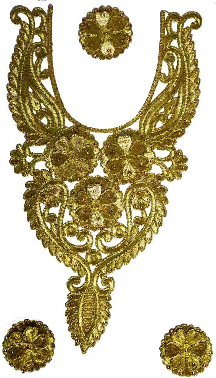 Golden Zari Neck Patch with Swaroski & Moti Work for Kurti MT0020 1