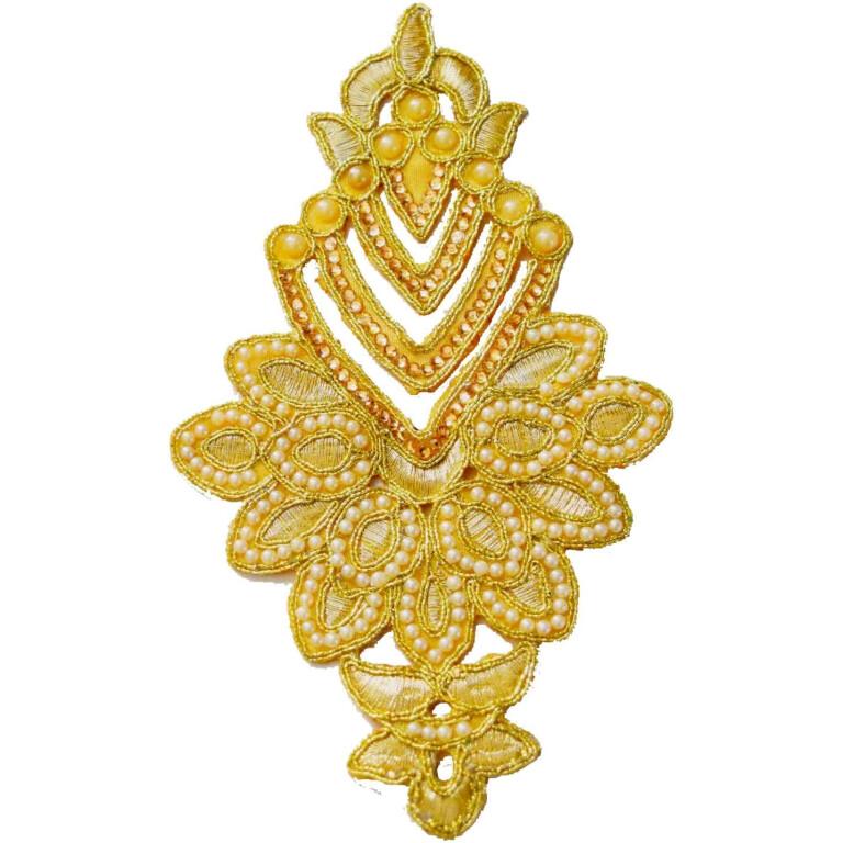 Light Golden Moti Kundan Work Embroidered Motif for use on Lehenga, kurti etc. MT004