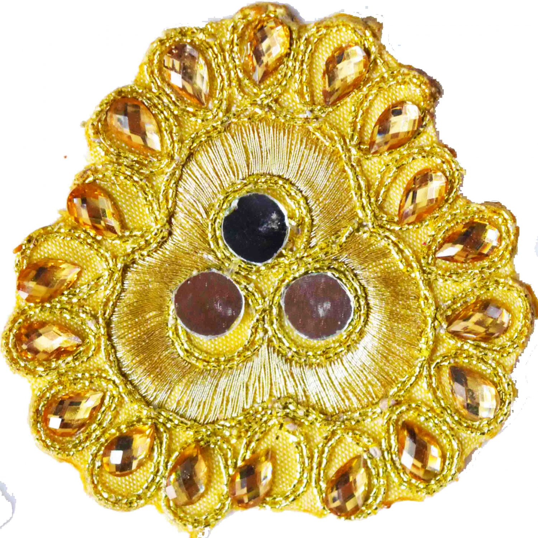 Golden Mirror Kundan Embroidered Motif for use on Lehenga, kurti etc. MT005 1