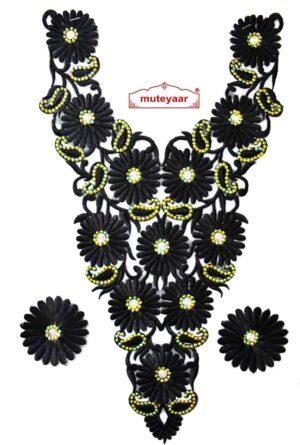 Embroidered Neck Pattern Motif  Patch for Kurti , kameez, Jumper  MT010