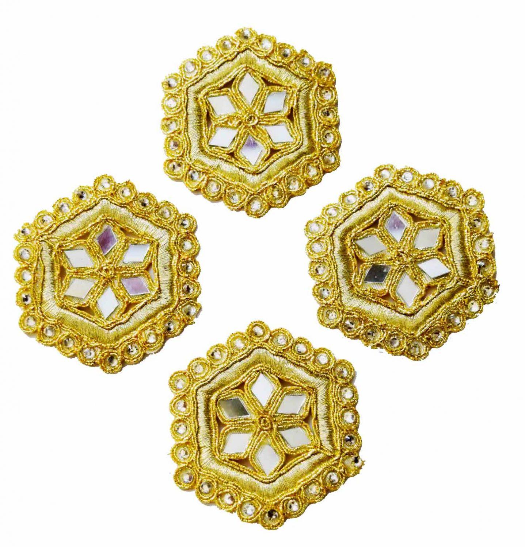 Light Golden Mirror Kundan Embroidered Motif for use on Lehenga, kurti etc. MT002 1