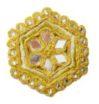 Light Golden Mirror Kundan Embroidered Motif for use on Lehenga, kurti etc. MT002