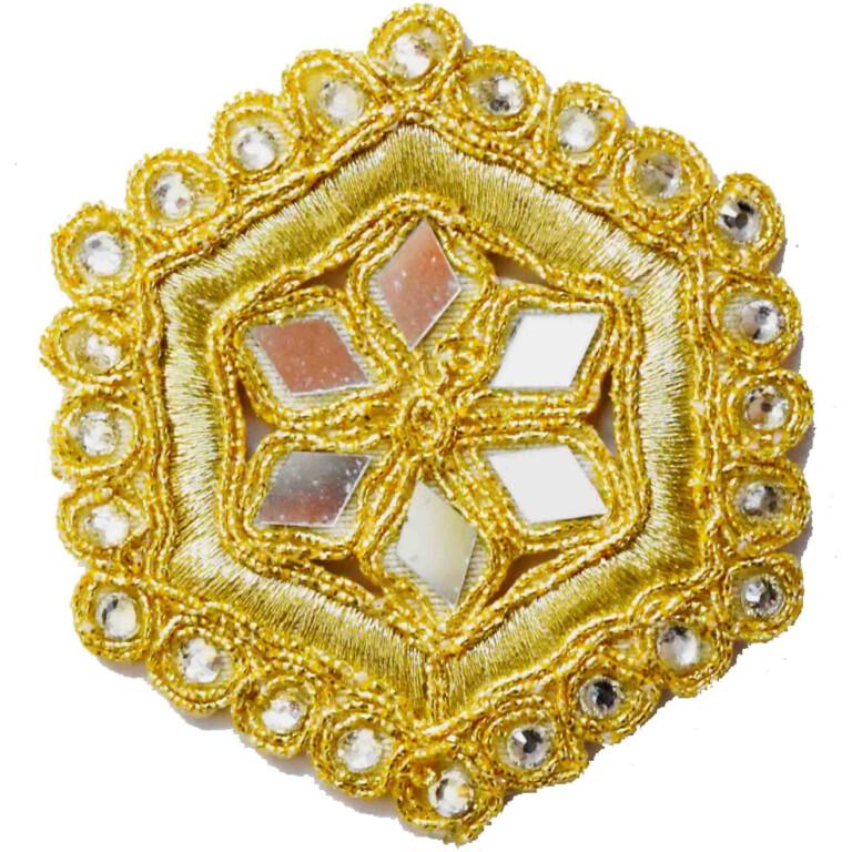 Light Golden Mirror Kundan Embroidered Motif for use on Lehenga, kurti etc. MT002