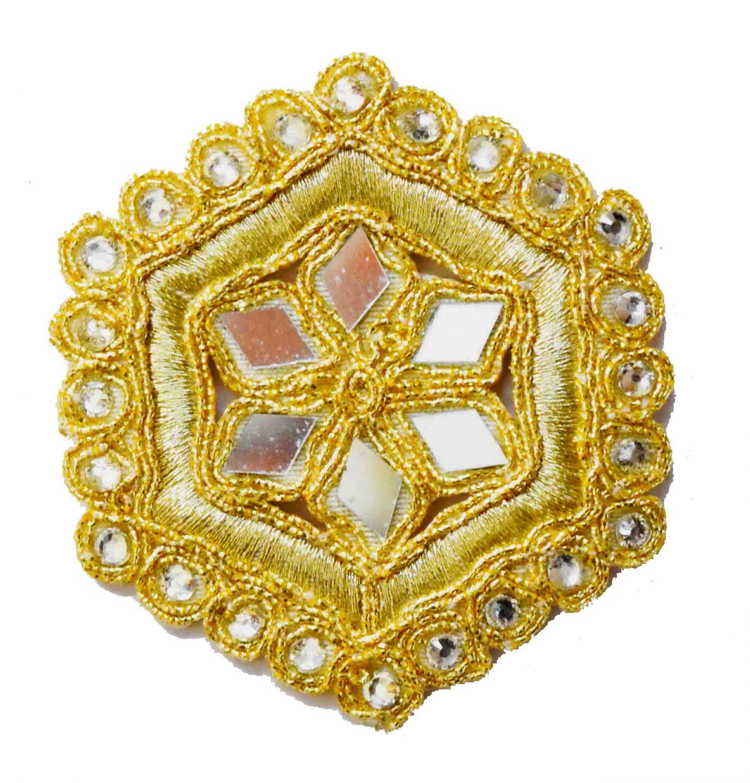 Light Golden Mirror Kundan Embroidered Motif for use on Lehenga, kurti etc. MT002 2