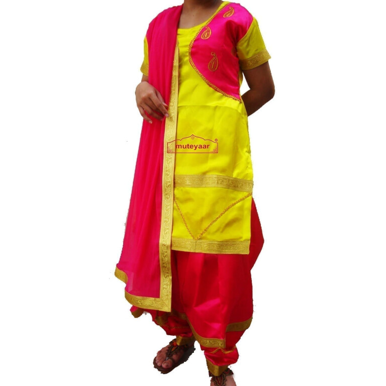 Magenta yellow Girl's Bhangra Costume outfit dance dress