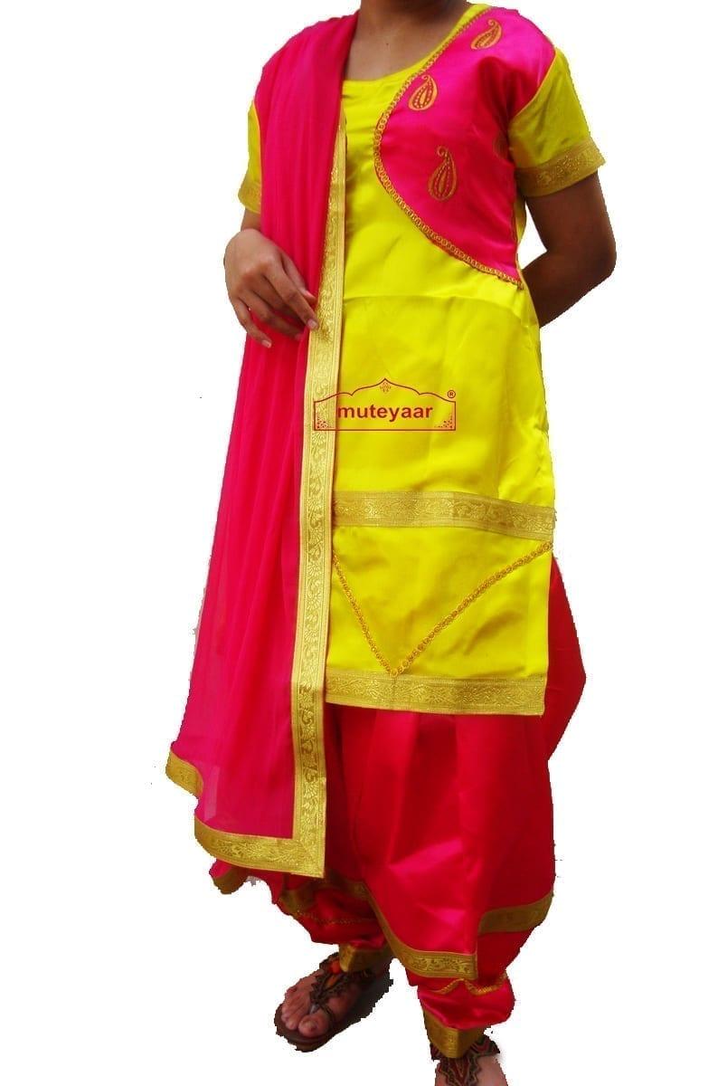 Magenta yellow Girl's Bhangra Costume outfit dance dress 2