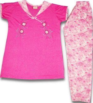 Pure Cotton Soft Hosiery Fabric Ladies Night Wear Night Suit NS065
