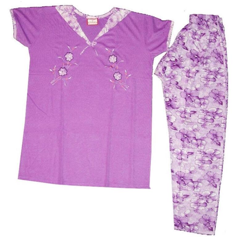 Pure Cotton Soft Hosiery Fabric Ladies Night Wear Night Suit NS066