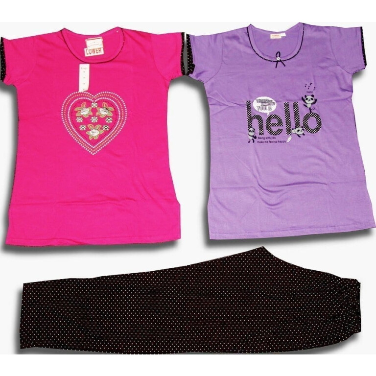 PLUS SIZE XXL Set of 3 Pieces Soft Cotton Hosiery Fabric Ladies Night Suit NS125