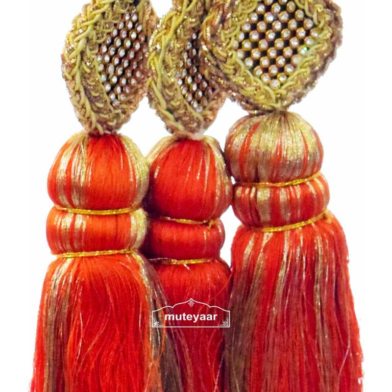 Traditional Punjabi Ethnic ORANGE Paranda parandi with Zircons embelishment