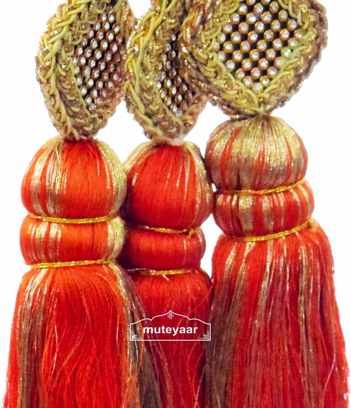 Traditional Punjabi Ethnic ORANGE Paranda parandi with Zircons embelishment 2