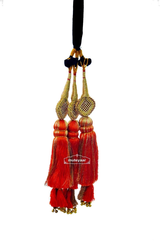 Traditional Punjabi Ethnic ORANGE Paranda parandi with Zircons embelishment 3