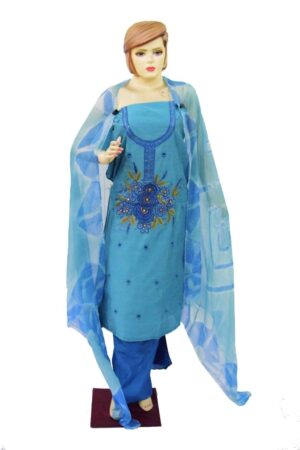 Chanderi Cotton Embroided Pajami Suit Dupatta RM030