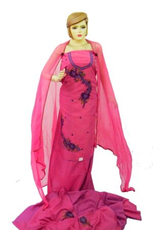 Dark Pink Cotton Embroidered Salwar Kameez Suit RM076