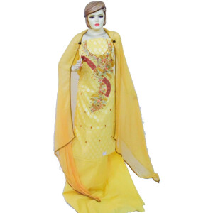 Lemon Yellow Cotton Embroidered Salwar Kameez Dupatta Suit RM095