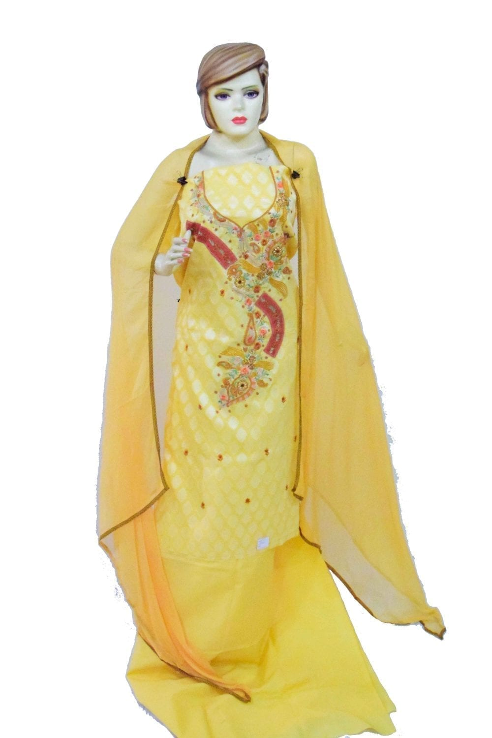 Lemon Yellow Cotton Embroidered Salwar Kameez Dupatta Suit RM095 1
