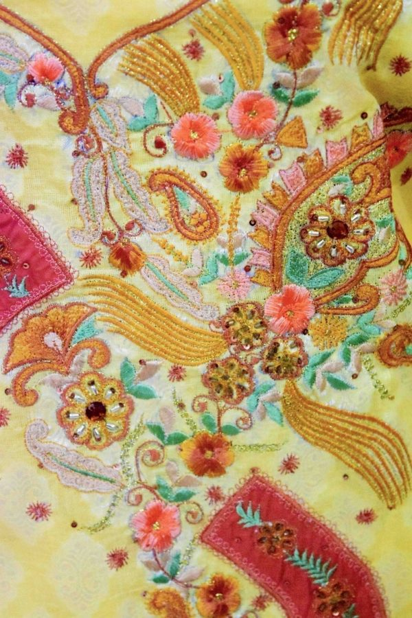 Lemon Yellow Cotton Embroidered Salwar Kameez Dupatta Suit RM095