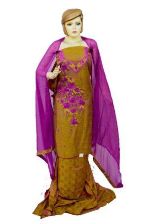 Blended Self Print Cotton Embr Suit PURE CHIFFON Dupatta RM101