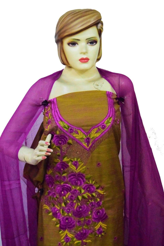 Blended Self Print Cotton Embr Suit PURE CHIFFON Dupatta RM101 2