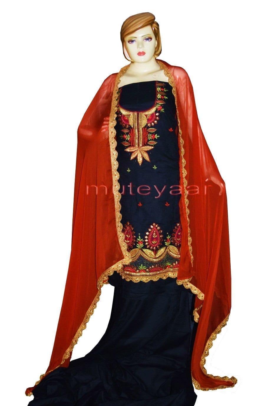 Designer Gota Patti Embroidery Boutique Suit Cotton Salwar Kameez CHIFFON Dupatta RM313 1