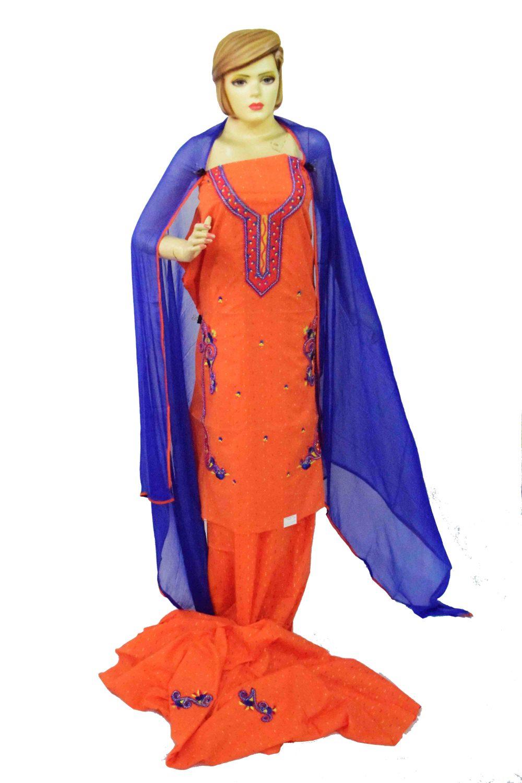 Designer Embroidery 100% cotton Salwar Suit CHIFFON Dupatta RM319 1