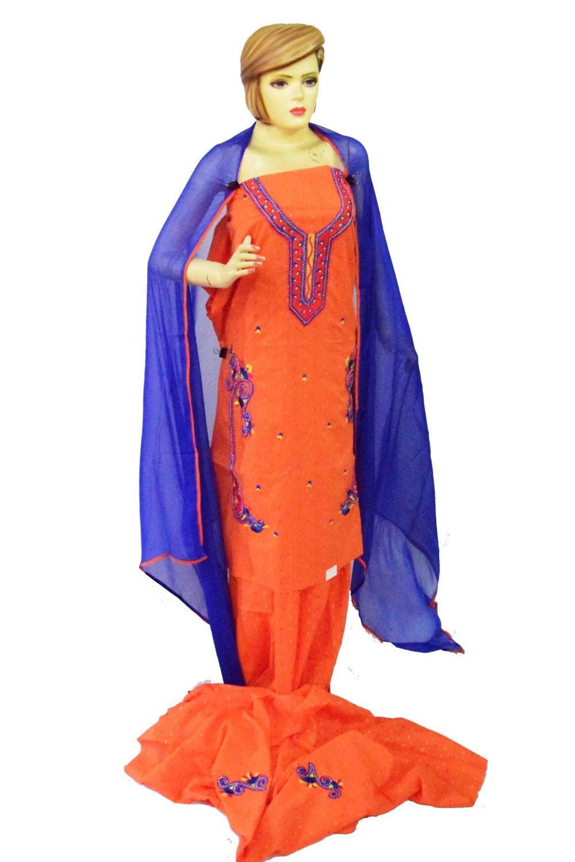 Designer Embroidery 100% cotton Salwar Suit CHIFFON Dupatta RM319 2