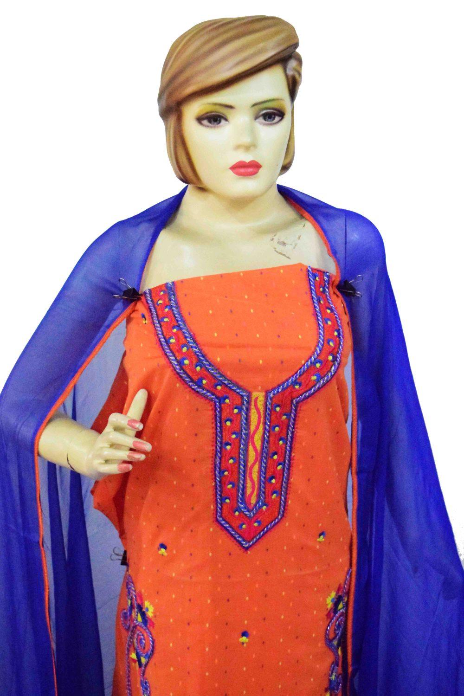 Designer Embroidery 100% cotton Salwar Suit CHIFFON Dupatta RM319 3