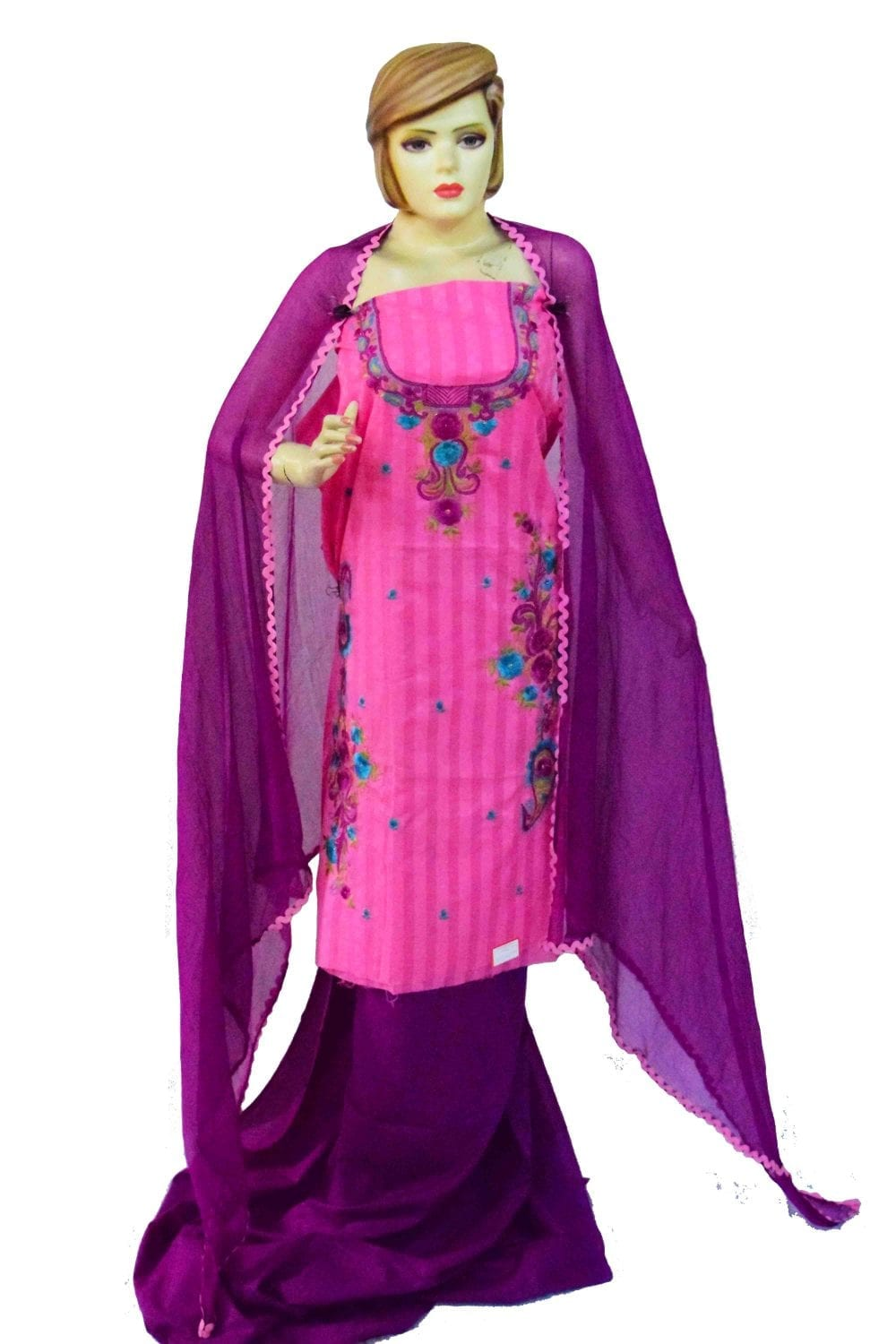 Designer Thread Embroidery 100% cotton Salwar Suit CHIFFON Dupatta RM332 1