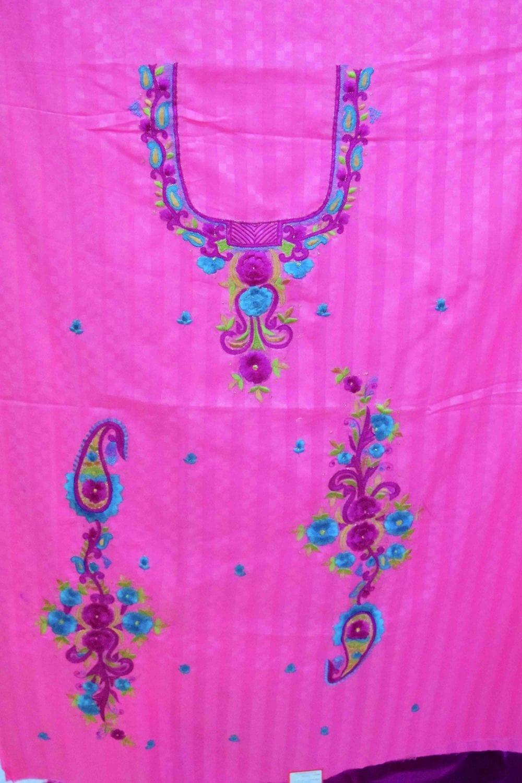 Designer Thread Embroidery 100% cotton Salwar Suit CHIFFON Dupatta RM332 2