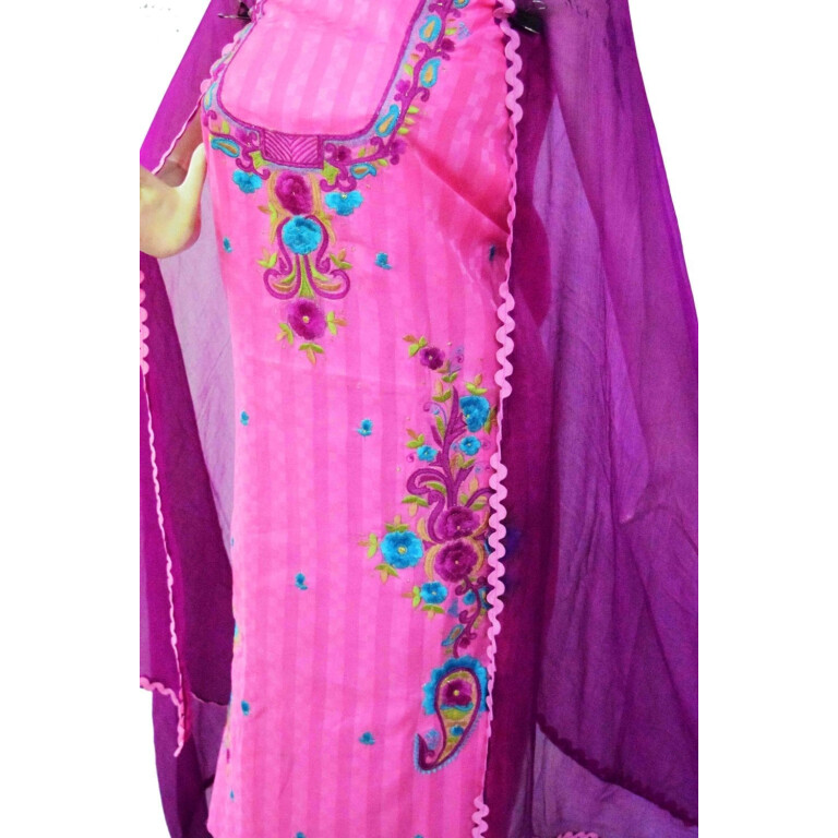 Designer Thread Embroidery 100% cotton Salwar Suit CHIFFON Dupatta RM332
