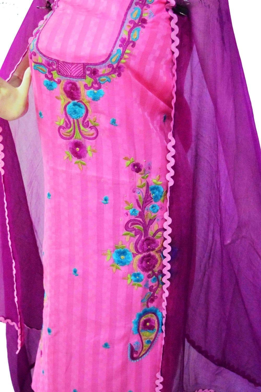 Designer Thread Embroidery 100% cotton Salwar Suit CHIFFON Dupatta RM332 3
