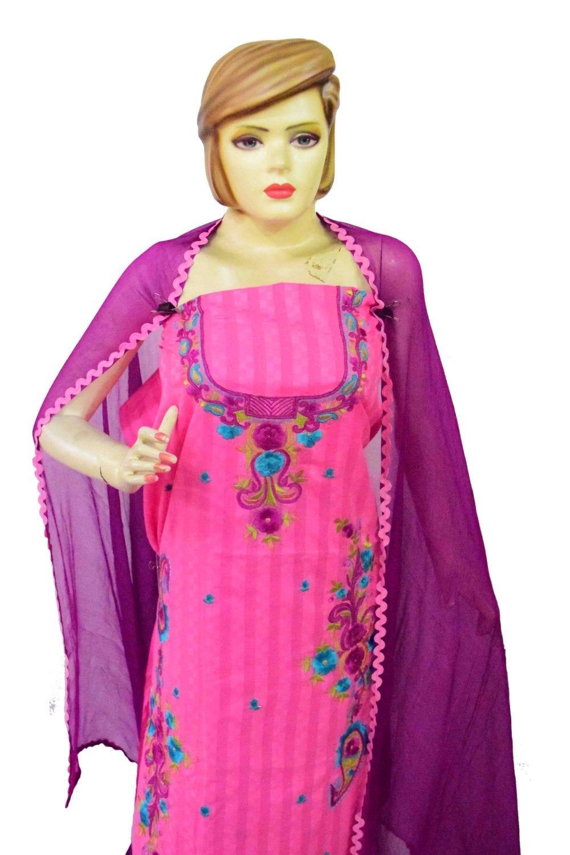 Designer Thread Embroidery 100% cotton Salwar Suit CHIFFON Dupatta RM332 4
