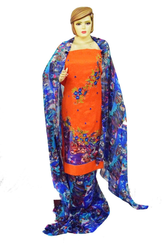 Designer Embroidery Georgette Salwar Dupatta with Cotton Kameez RM337 1